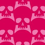ピンクのドクロ・スカルマークが並ぶイラストパターン