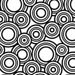白黒のたくさんの円が散らばるパターン