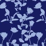 青色の植物をモチーフボタニカル柄パターン