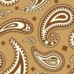 茶色基調のペイズリー柄パターン