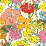 ラフなタッチのカラフルな花のイラストパターン