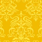 黄色のダマスク柄パターン
