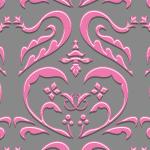 ピンク色のハートを模したダマスク柄パターン