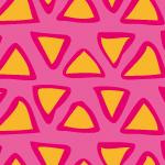 オレンジ色のラフな三角形が並ぶパターン