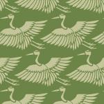 緑色の鶴のイラスト和柄パターン
