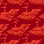 赤い鶴のイラスト和柄パターン