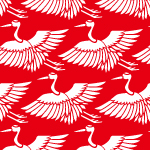 紅白カラーの鶴のイラスト和柄パターン