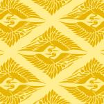 黄色い菱形鶴の和柄パターン