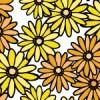 黄色い花のイラストが散らばるパターン