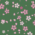 緑色背景の桜のイラストパターン