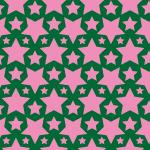 緑とピンクのスターが並ぶパターン