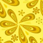 黄色のポップなペイズリー柄パターン