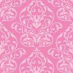 ピンク色のダマスク柄パターン
