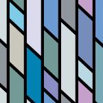 青いランダムな平行四辺形が並ぶストライプ系パターン