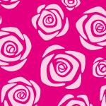 ピンク色のバラの花のイラストが並ぶパターン
