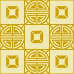 黄色の中華風格子パターン