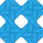 青色のバスケット編み柄パターン