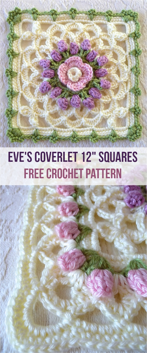 Eves Coverlet 12 Squares Crochet Afghan Free Pattern