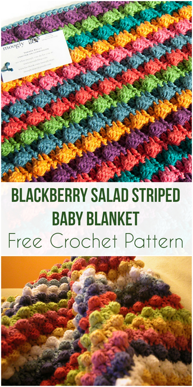 Blackberry Salad Striped Baby Blanket - Free Crochet Pattern