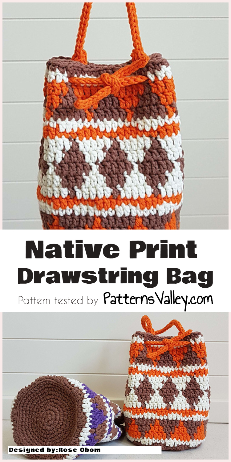 Native Print Crochet Drawstring Bag [Free Pattern]