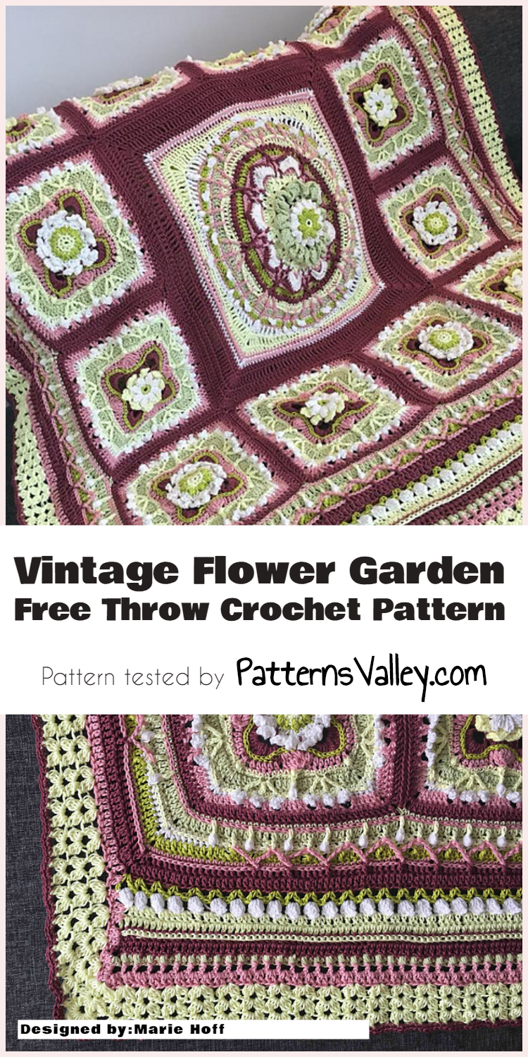 Vintage Flower Garden Free Throw Crochet Pattern