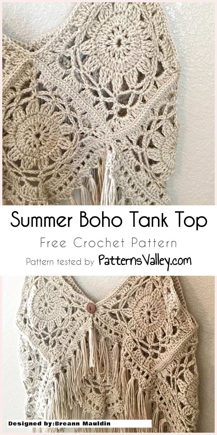 Cute Summer Crochet Boho Tank Top Free Pattern