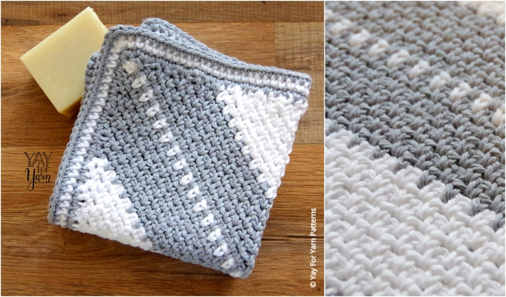 Crochet C2c Moss Stitch Washcloth Pattern