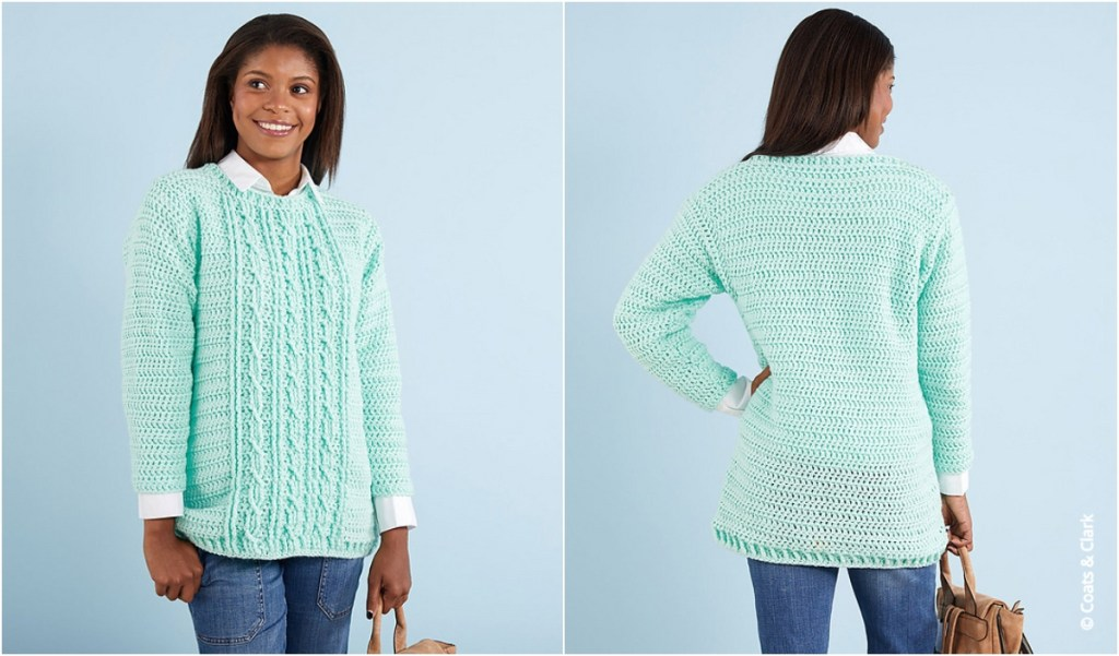 5fe9cbdf6 Gotta Have It Cable Stitch Crochet Sweater Pattern ...