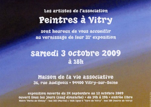 invitation au vernissage du 3 octobre 2009