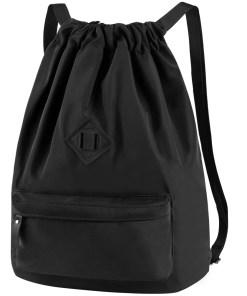 Fitibest Waterproof Drawstring Sport Bag Lightweight Sackpack Backpack for Men and Women (Black)