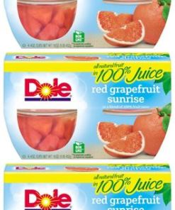 (12 Cups) Dole Fruit Bowls Red Grapefruit in 100% Fruit Juice, 4 oz cups