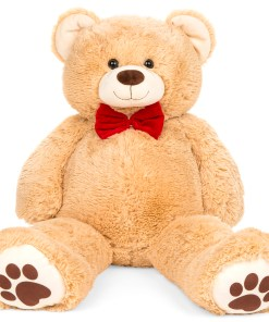 Best Choice Products 38in Giant Soft Plush Teddy Bear Stuffed Animal Toy w/ Red Bow Tie, Footprints – Brown