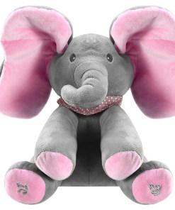 12″ Stuffed Plush Elephant Doll Peek-a-Boo Elephant Animated Talking Singing Cute Elephant Baby Doll Toy for Toddlers Kids Boys Girls Gift