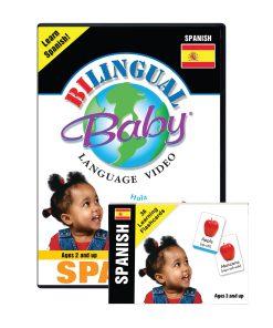 Bilingual Baby Learn Spanish Language DVD and Spanish Language Flashcards Set