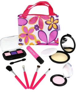 Click N' Play Pretend Play Cosmetic and Makeup Set with Floral Tote Bag