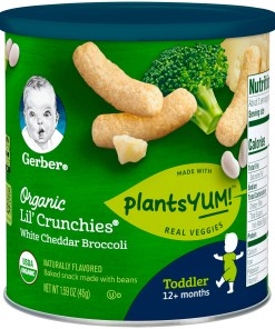 Gerber Lil Crunchies Organic White Cheddar Broccoli Baked Snack 1.59 oz. Canister