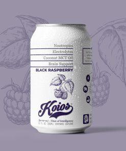 KOIOS – Nootropic Black Raspberry Functional Beverage, Enhances Brain Function, Productivity, Reduce Stress, w/ Lion's Mane Mushroom, MCT Oil, & Natural Caffeine, Gluten-Free, 12 Fl Oz Cans (12-Pack)