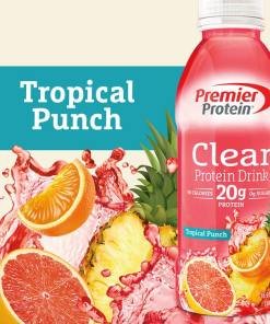 Premier Protein Clear Protein Drink, Tropical Punch, 20g Protein, 16.9 Fl Oz, 12 Ct