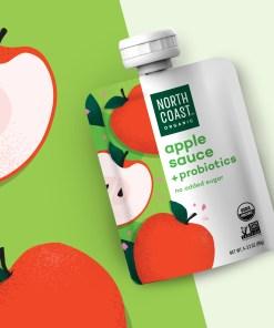 (2 Pack) North Coast Organic Apple Sauce + Probiotic Pouches 4-3.2oz