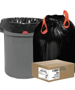 Draw N Tie Heavy Duty Hexene Black Resin Trash Bags, 30 gal, 200 ct