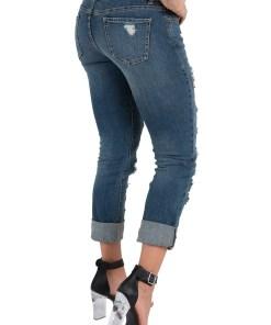 Women's Stretch Denim Boyfriend Jeans Destroyed & Mended Cuffed Hem Silver Patch Backed