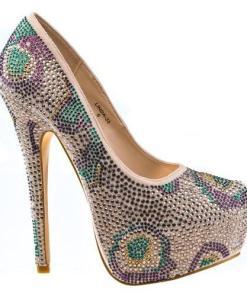 Linda33 by Mascotte, Rhinestone Studded Platform Stiletto High Heel Dress Pump Women Shoes
