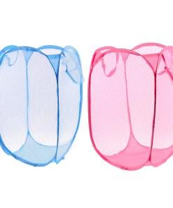 2pcs Meshy Design Clothes Storage Laundry Towel Basket Hamper
