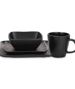 Stone Lain 32 Piece Stoneware Square Weave Dinnerware set, Black