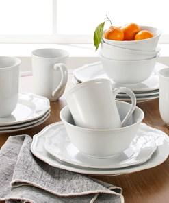Better Homes & Gardens 16-Piece Carnaby Scalloped Dinnerware Set, White