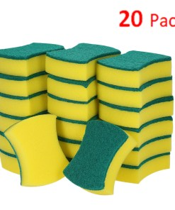 Esonmus 20pcs Multi-purpose Double-faced Sponge Scouring Pads Dish Washing Scrub Sponge Stains Removing Cleaning Scrubber Brush for Kitchen Garage Bathroom