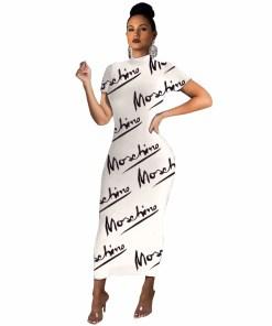 2020 Fashion Maxi Long Dress Short Sleeve Black Letter Print Dresses Women  Sexy Party  Skinny Bodycon Elegant vestido