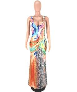 Colorful floral print maxi dress women v neck slip vestido summer 2020 new sleeveless long dress plus size 3 XL lady party dress