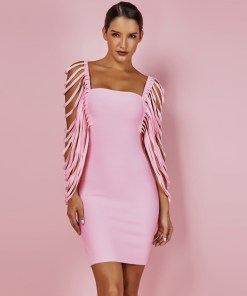 Sexy Women Dress Bandage Bodycon 2021 New Summer Pink Fringe Detailed Cap Sleeve Woman Bandage Party Mini Dress XL