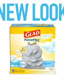 Glad ForceFlex Tall Kitchen Drawstring Trash Bags – 13 Gallon Trash Bag, Fresh Clean scent with Febreze Freshness – 110 Count